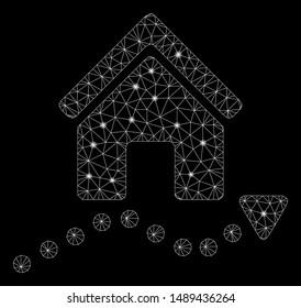 Flare mesh realty trend with glow effect. Abstract illuminated model of realty trend icon. Shiny wire carcass polygonal mesh realty trend. Vector abstraction on a black background.