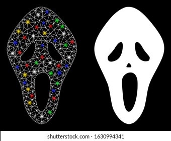 Flare mesh scary mask icon with glitter effect. Abstract illuminated model of scary mask. Shiny wire carcass polygonal network scary mask icon. Vector abstraction on a black background.