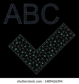 Flare mesh spell checking with glitter effect. Abstract illuminated model of spell checking icon. Shiny wire frame triangular mesh spell checking. Vector abstraction on a black background.
