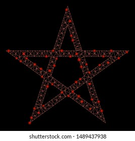 Flare mesh star pentagram with glare effect. Abstract illuminated model of star pentagram icon. Shiny wire frame triangular mesh star pentagram. Vector abstraction on a black background.