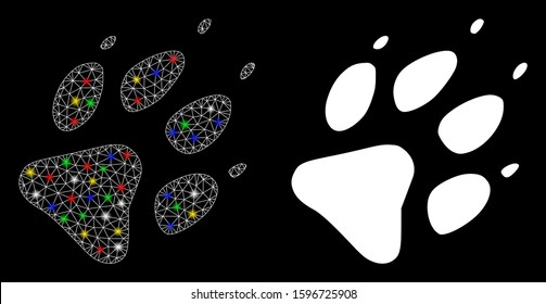 Flare mesh wolf footprint icon with glow effect. Abstract illuminated model of wolf footprint. Shiny wire frame triangular network wolf footprint icon. Vector abstraction on a black background.
