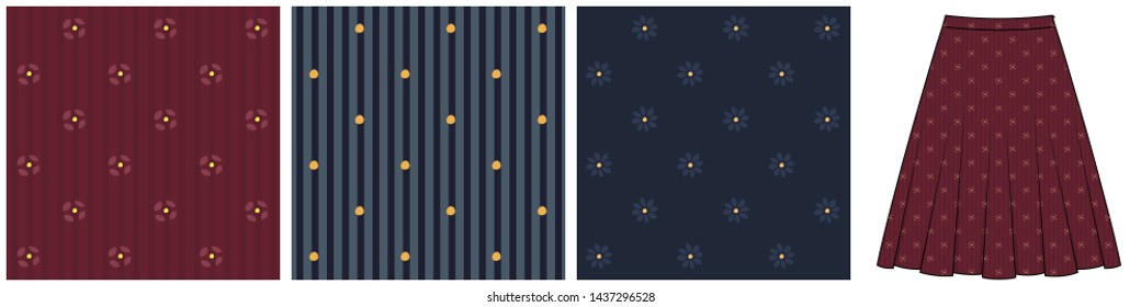 Flared skirt template with fabric swatches. Set of striped and floral patterns in blue, red, yellow for apparel textile, ladies dress, fashion garment. Simple geometric design all over print blocks.