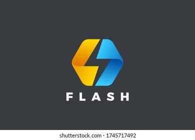 Flash Bolt Energy Logo Power design vector template Negative space style. Hexagon Thunderbolt icon.