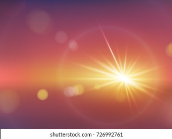 Flash of bright soft light with rays and bokeh realistic vector on gradient warm red background. Abstract dazzling blurry glowing, fire explosion, far star, lighting flare with halo, sunlight effect