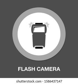 flash camera icon - Photo camera flash simple solid icon. Symbol, logo illustration. Pixel perfect vector graphics - Vector
