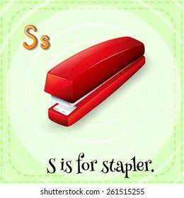 Flash card letter S is for stapler