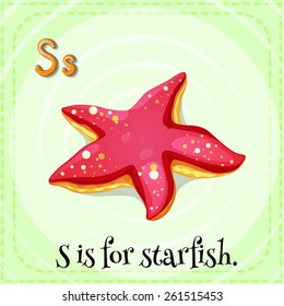Flash card letter S is for starfish