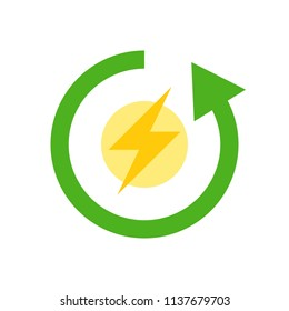Flash and circle arrow, Clean Energy Flat icon