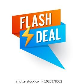 Flash deal, banner flat design. vector illustration