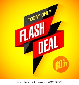 Flash deal, today only flash sale special offer banner vector illustration
