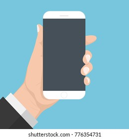 Flash Design with long shadow hand Holding the smart phone with  Blank screen ,vector design Element illustration