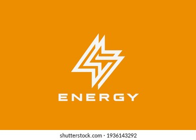 Flash Energy Logo Lightning Bolt Looped geometric design vector template Linear Outline style. Infinite Power Battery Logotype concept icon.
