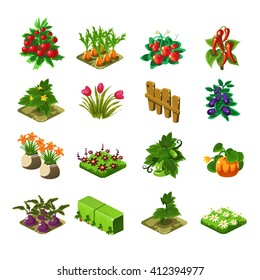 Flash Game Farming Elements Set Of Cute Cartoon Stylized Vector Flat Drawings Isolated On White Background