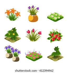 Flash Game Gardening Elements Set Of Cute Cartoon Stylized Vector Flat Drawings Isolated On White Background