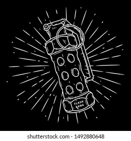 Flash Grenade. Hand drawn vector illustration with a grenade and divergent rays. Used for poster, banner, web, t-shirt print, bag print, badges, flyer, logo design and more.