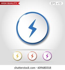 Flash icon. Button with flash icon.
