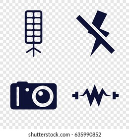 Flash icons set. set of 4 flash filled icons such as camera, soft box, no flash