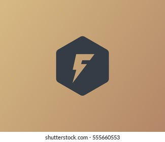Flash letter F logo. Dynamic speed energy vector logotype. Thunderbolt superhero t shirt print symbol.