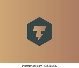 Flash letter T logo. Dynamic speed energy vector logotype. Thunderbolt superhero t shirt print symbol.