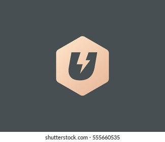 Flash letter U logo. Dynamic speed energy vector logotype. Thunderbolt superhero t shirt print symbol.