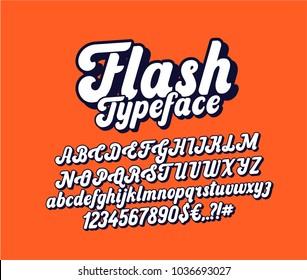 Flash lettering font. Cursive typeface. Vector alphabet.