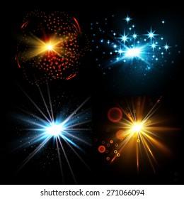 Flash light collection. Vector illustration