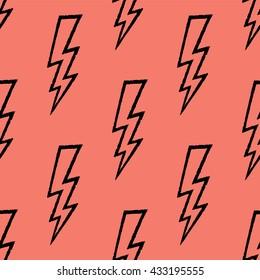 Flash, lightning bolt doodle seamless pattern. Hand drawn. Vector illustration