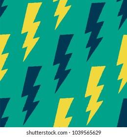 Flash, lightning bolt seamless pattern. Vector illustration