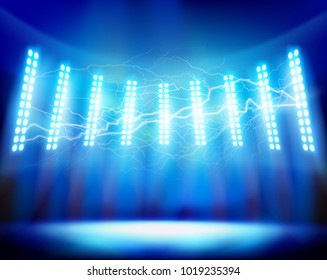 Flash of lightning on the stadium. Vector illustration.
