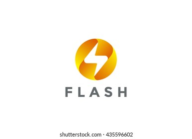 Flash Logo circle abstract design vector template. Lighting bolt icon. Thunder electricity Power Fast Speed Logotype concept.