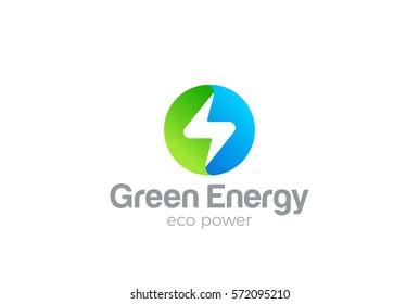 Flash Logo circle design vector template. Thunderbolt symbol. Green Energy Eco Power electric Logotype concept.