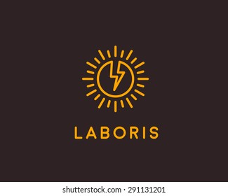 Flash logo design template. Lined globe icon. Abstract sun symbol. Energy modern sign. breakthrough, mark.
