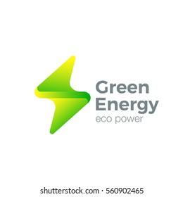 Flash Logo design vector template. Thunderbolt symbol. Green Energy Power electric speed creative Logotype concept.