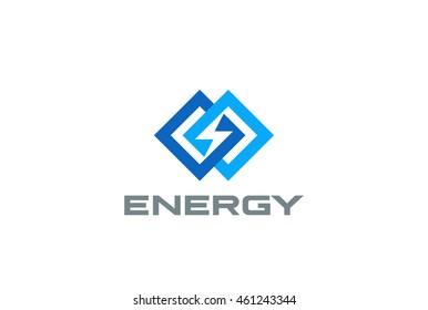 Flash Logo Rhombus design vector template. Infinite Energy Power concept icon.