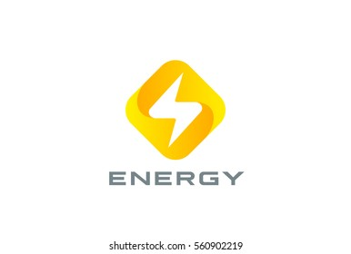 Flash Logo square rhombus design vector template. Thunderbolt symbol.