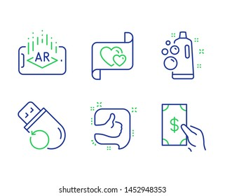 Flash memory, Augmented reality and Like line icons set. Clean bubbles, Love letter and Receive money signs. Recovery usb, Phone simulation, Thumb up. Laundry shampoo. Business set. Vector