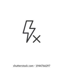 Flash off line icon, no flash icon. outline vector sign. No photo flash light symbol