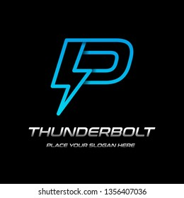 Flash P letter vector logo template. This font with thunder symbol. Logotype. Alphabet suitable for fast, power, electric, identity, moving and speed.
