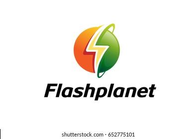Flash Planet Circle Thunder Logo Design Illustration