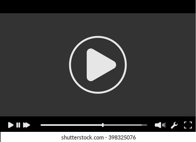 Black flat video player bar template for your design. Trendy.