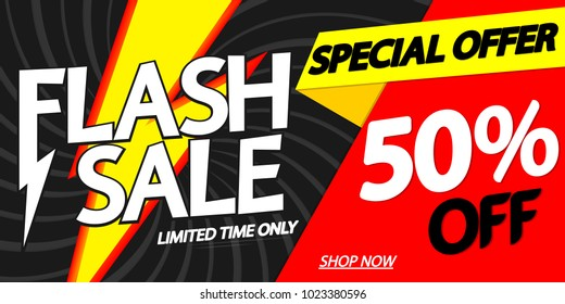 Flash Sale, 50% off, special offer, poster design template, vector illustration