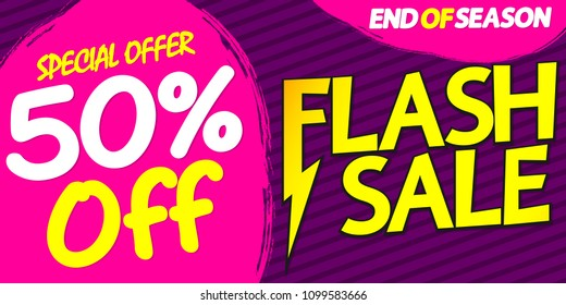 Flash Sale, 50% off, special offer, poster design template, end of season, vector illustration