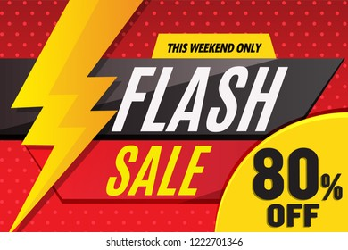flash sale up to 80% banner red design and lightning
