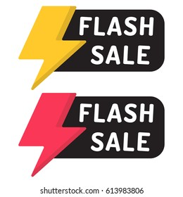 Flash sale. Badge with icon. Flat vector illustration on white background.