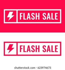 Flash sale. Badge with megaphone icon. Flat vector illustration on white and red background.