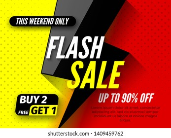 Flash sale banner, up to 90% off. This weekend only buy 2, free get 1. Vector illustration.