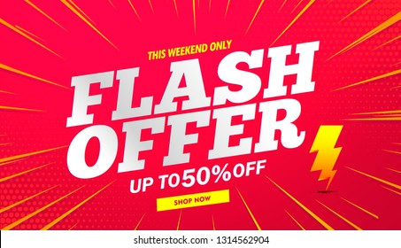 Flash sale banner background red.Vector design