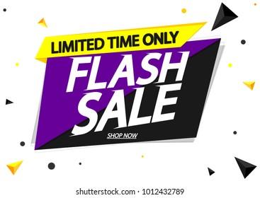 Flash Sale, banner design template, app icon, discount tag, vector illustration