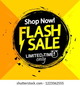 Flash Sale banner design template, discount tag, grunge brush, limited time only, app icon, vector illustration