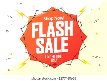 Flash Sale, banner design template, discount poster, limited time only, vector illustration